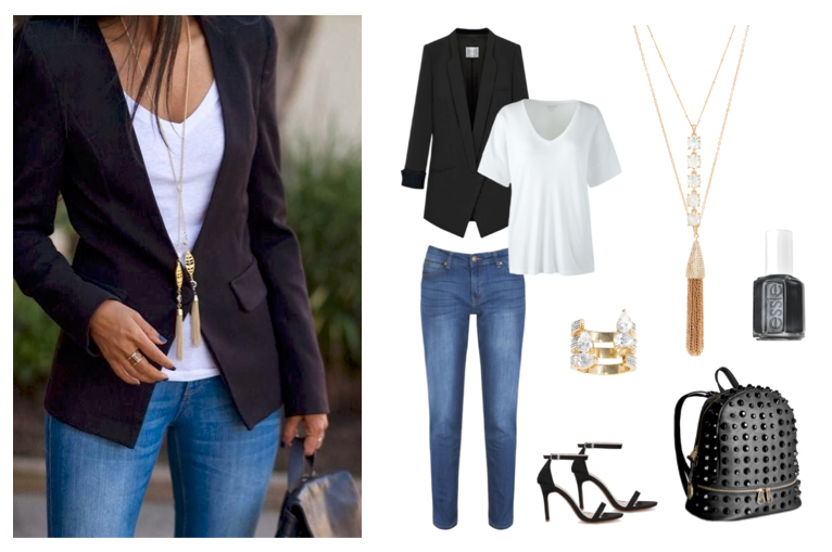 34f84c95339 ... dress up a basic white tee and your favorite pair of jeans with a black  blazer. Accent the look with a long gold tassel necklace like ...